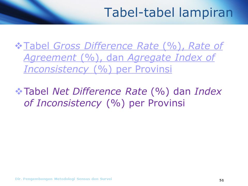 Tabel-tabel lampiran Tabel Gross Difference Rate (%), Rate of Agreement (%), dan Agregate Index of Inconsistency (%) per Provinsi.