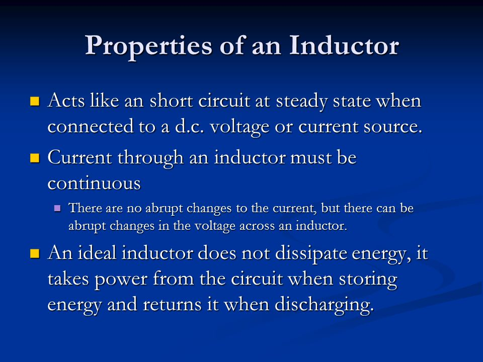 Properties of an Inductor