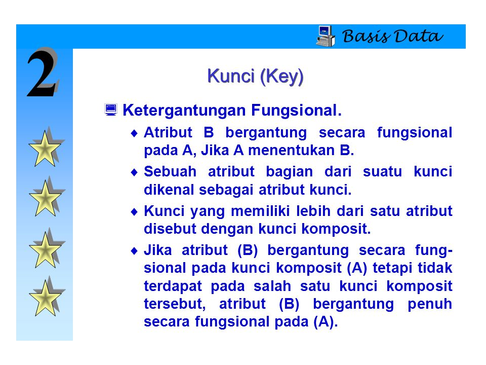 2 Kunci (Key) Basis Data Ketergantungan Fungsional.