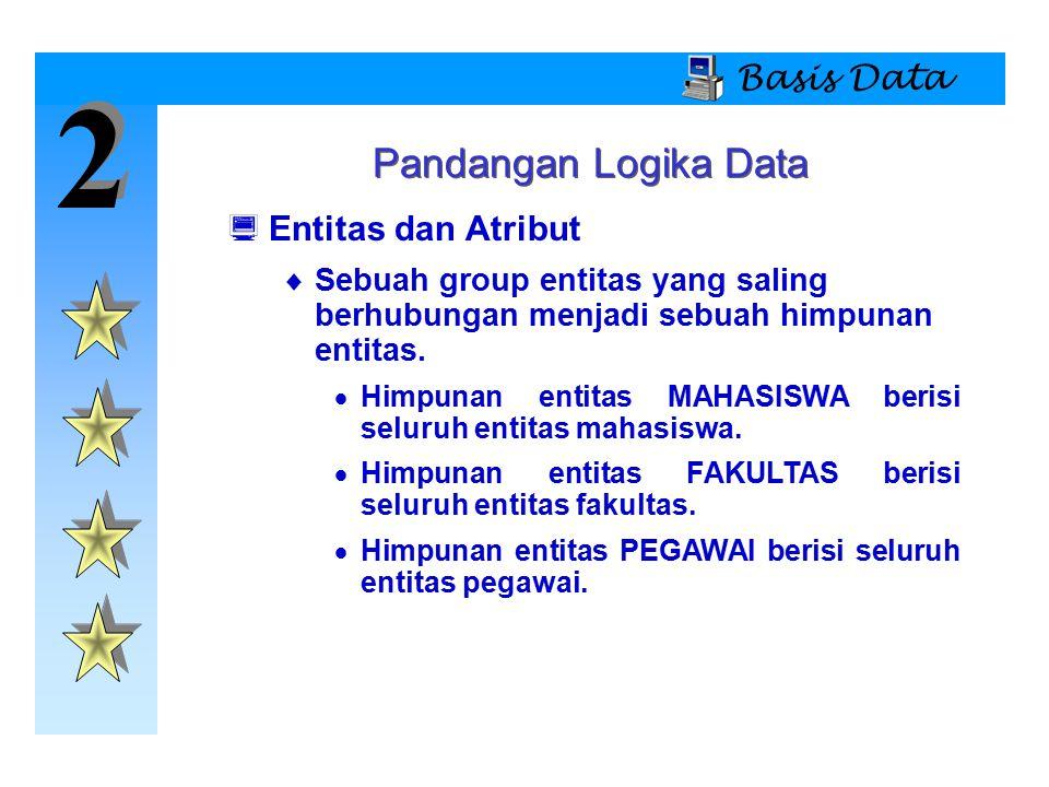 2 Pandangan Logika Data Basis Data Entitas dan Atribut