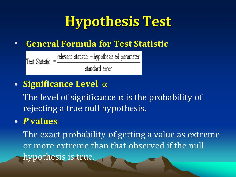 Hypothesis Test General Formula for Test Statistic