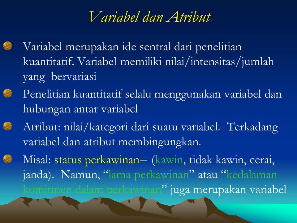 Variabel dan Atribut Variabel merupakan ide sentral dari penelitian kuantitatif. Variabel memiliki nilai/intensitas/jumlah yang bervariasi.