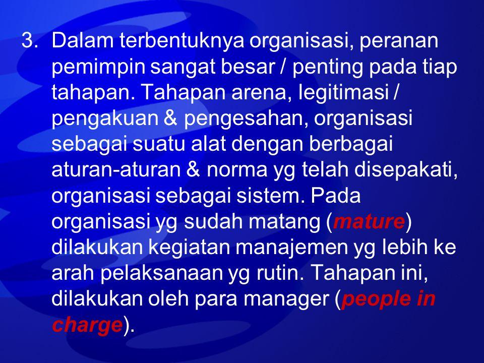 3. Dalam terbentuknya organisasi, peranan