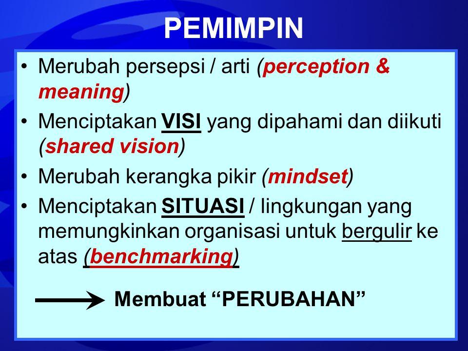 PEMIMPIN Merubah persepsi / arti (perception & meaning)