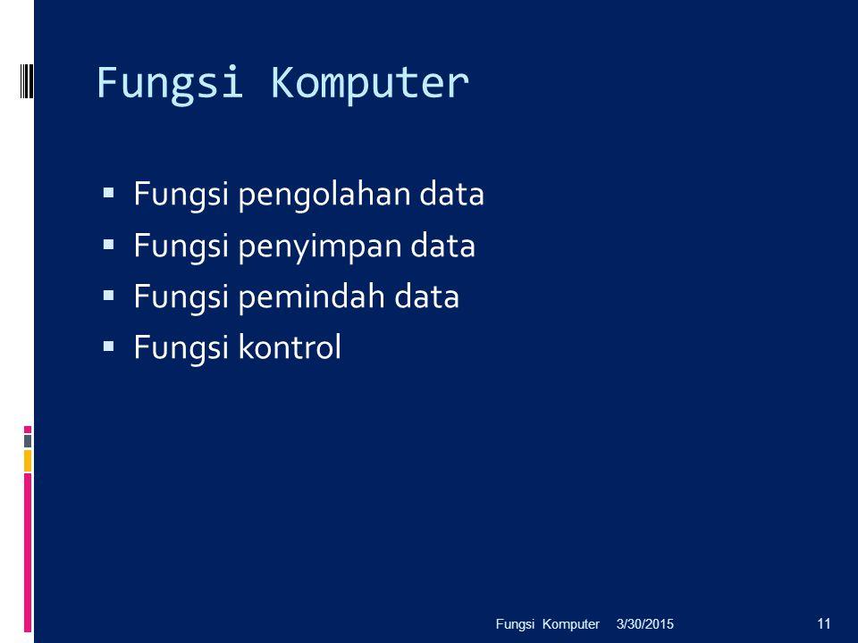 Fungsi Komputer Fungsi pengolahan data Fungsi penyimpan data