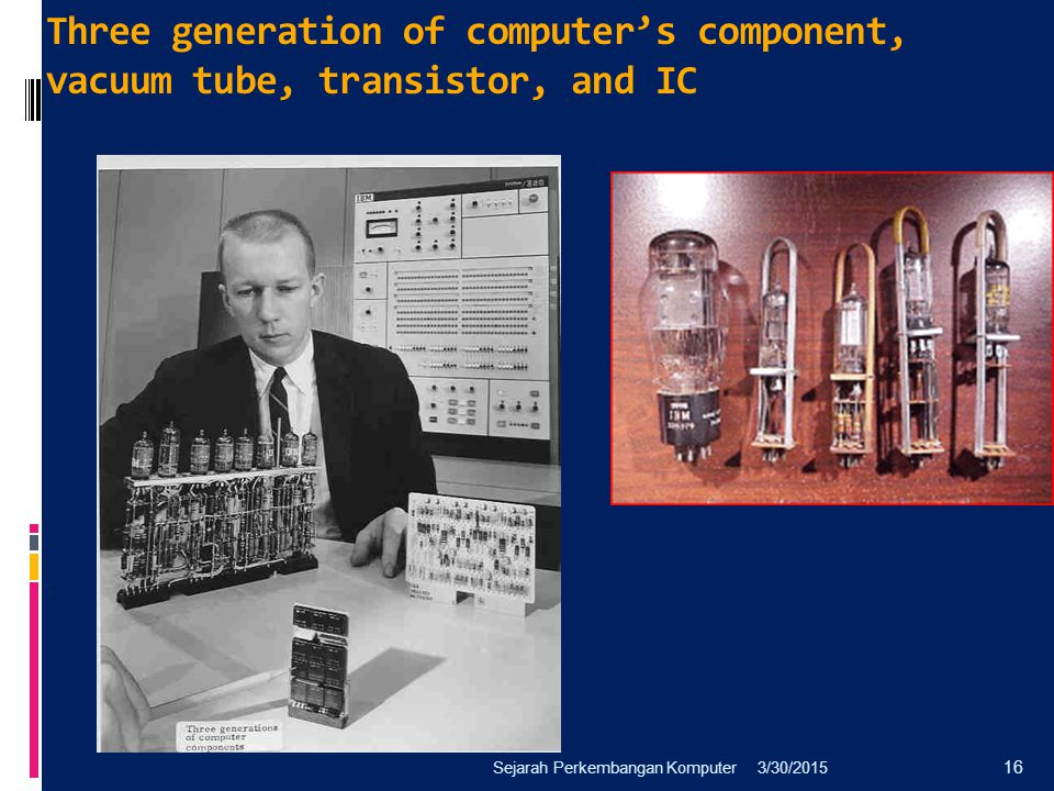 Three generation of computer's component, vacuum tube, transistor, and IC
