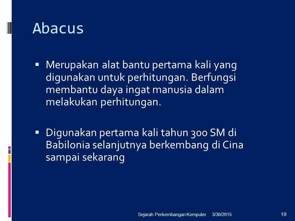 Abacus Merupakan alat bantu pertama kali yang digunakan untuk perhitungan. Berfungsi membantu daya ingat manusia dalam melakukan perhitungan.