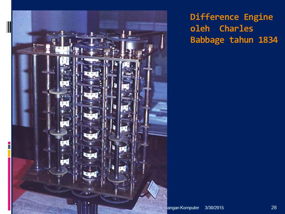 Difference Engine oleh Charles Babbage tahun 1834