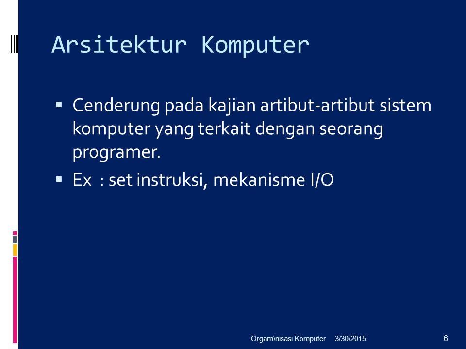 Arsitektur Komputer Cenderung pada kajian artibut-artibut sistem komputer yang terkait dengan seorang programer.