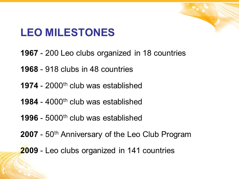 LEO MILESTONES 1967 - 200 Leo clubs organized in 18 countries