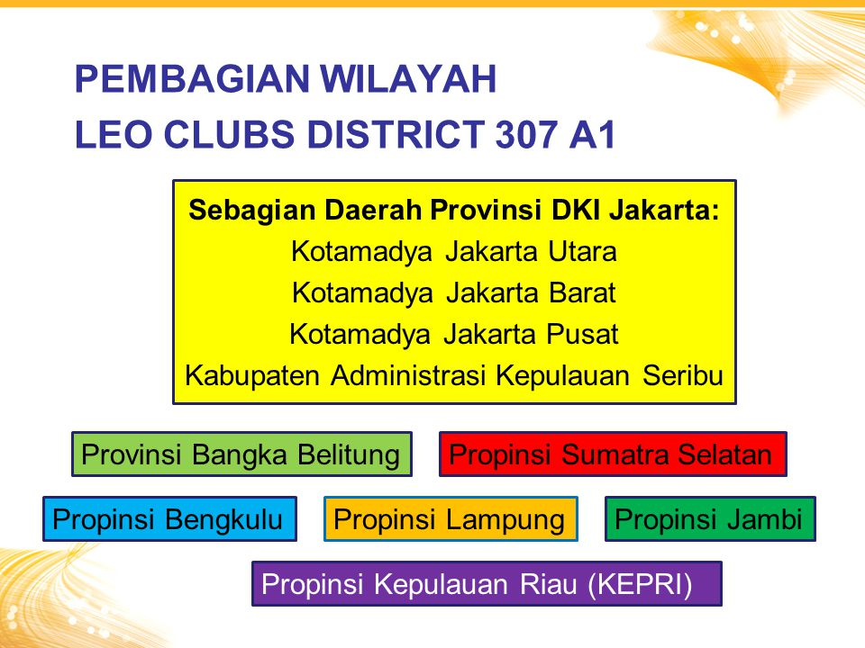 PEMBAGIAN WILAYAH LEO CLUBS DISTRICT 307 A1