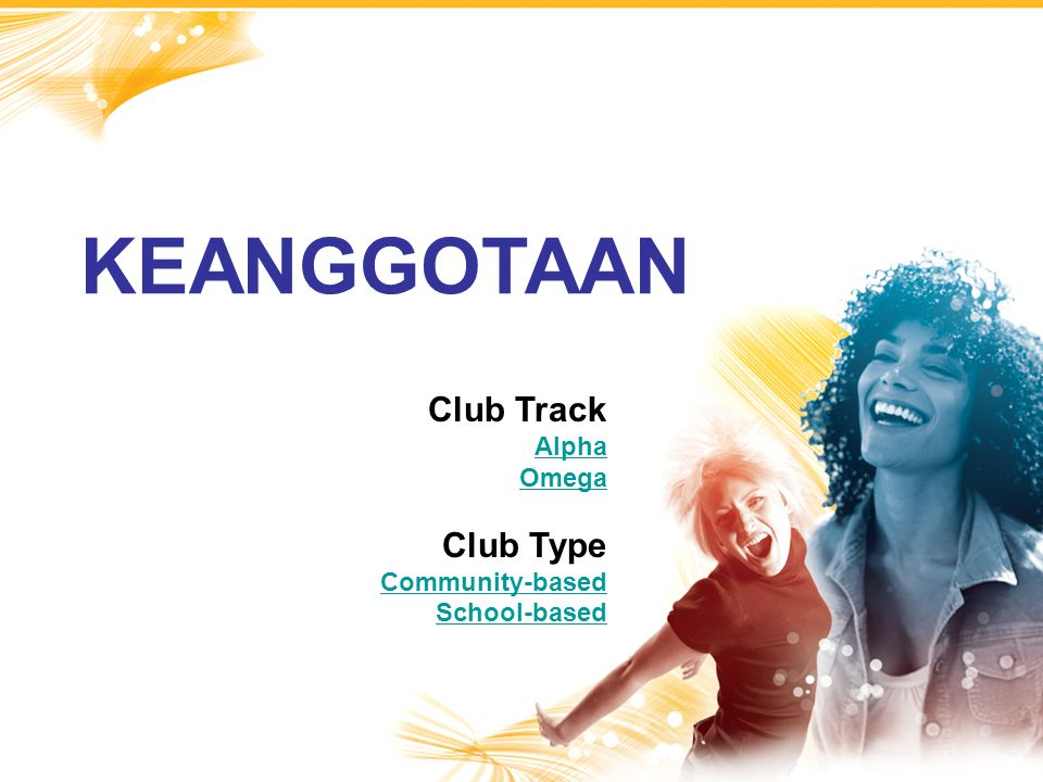 KEANGGOTAAN Club Track Club Type Alpha Omega Community-based