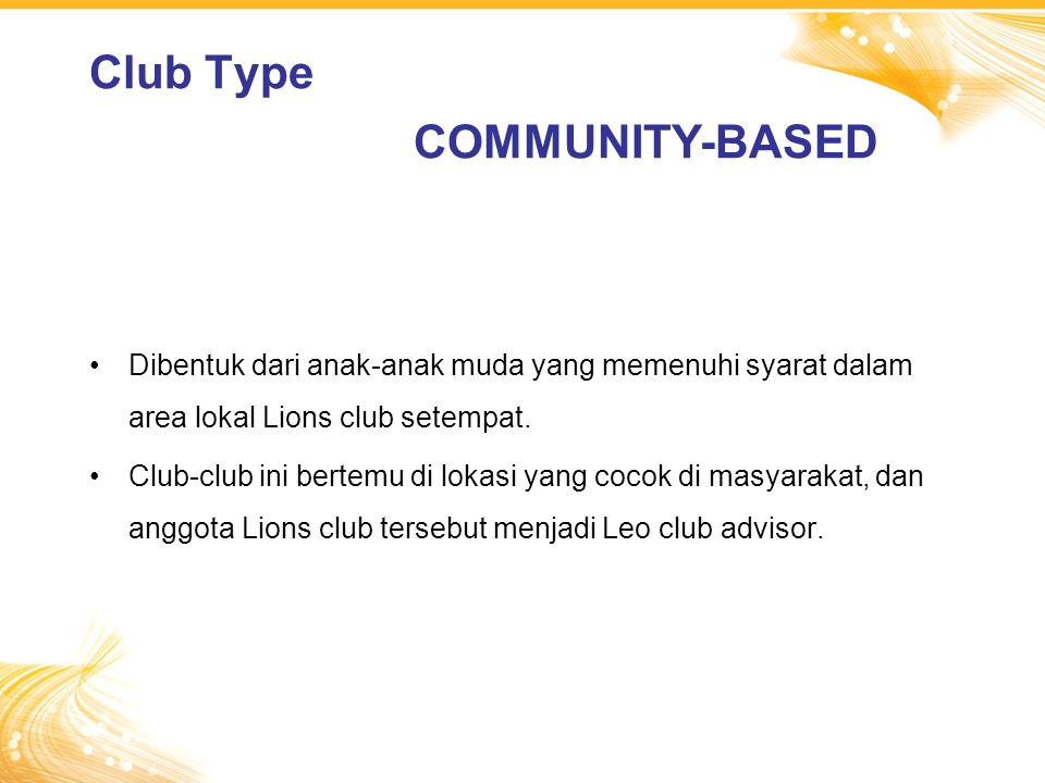 Club Type COMMUNITY-BASED