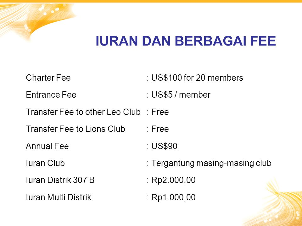 IURAN DAN BERBAGAI FEE Charter Fee : US$100 for 20 members