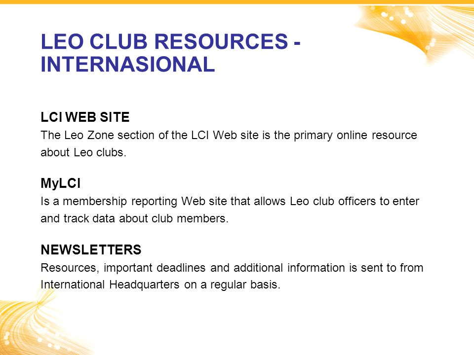 LEO CLUB RESOURCES - INTERNASIONAL