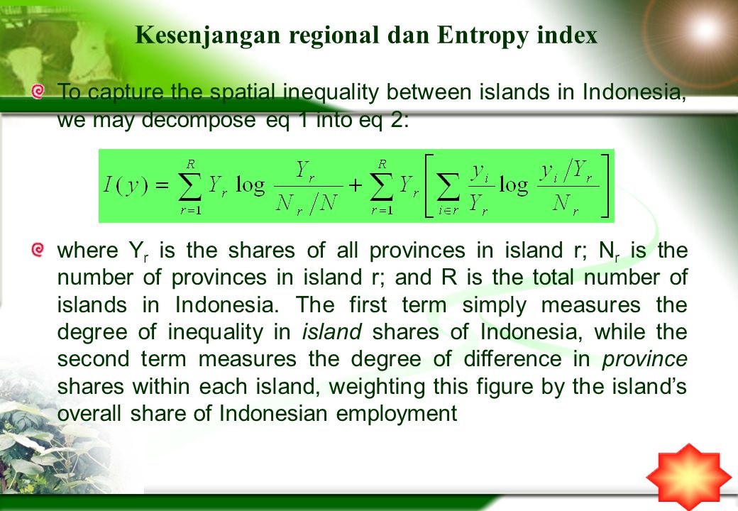 Kesenjangan regional dan Entropy index