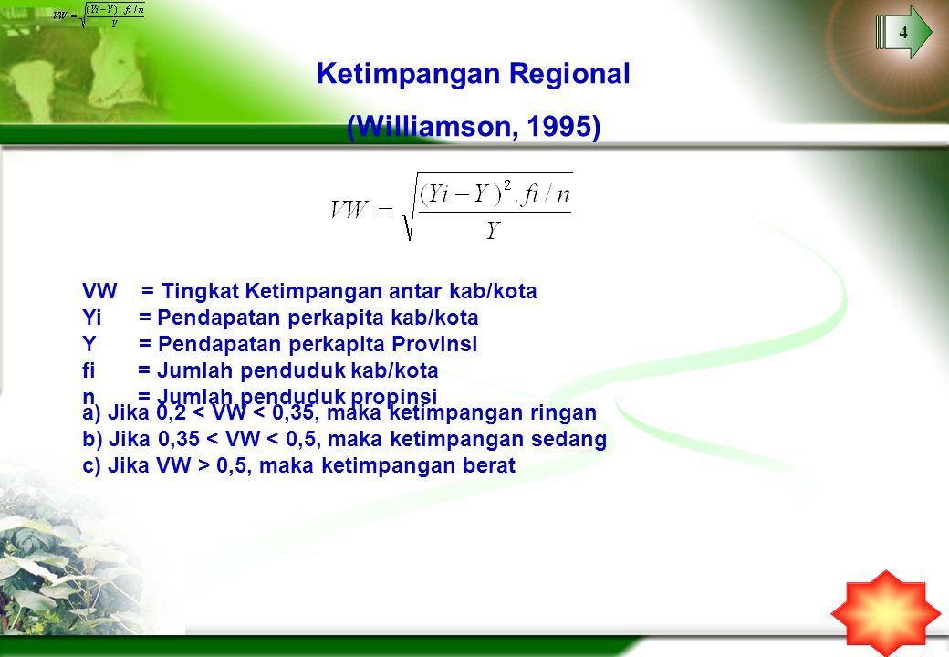 Ketimpangan Regional (Williamson, 1995)