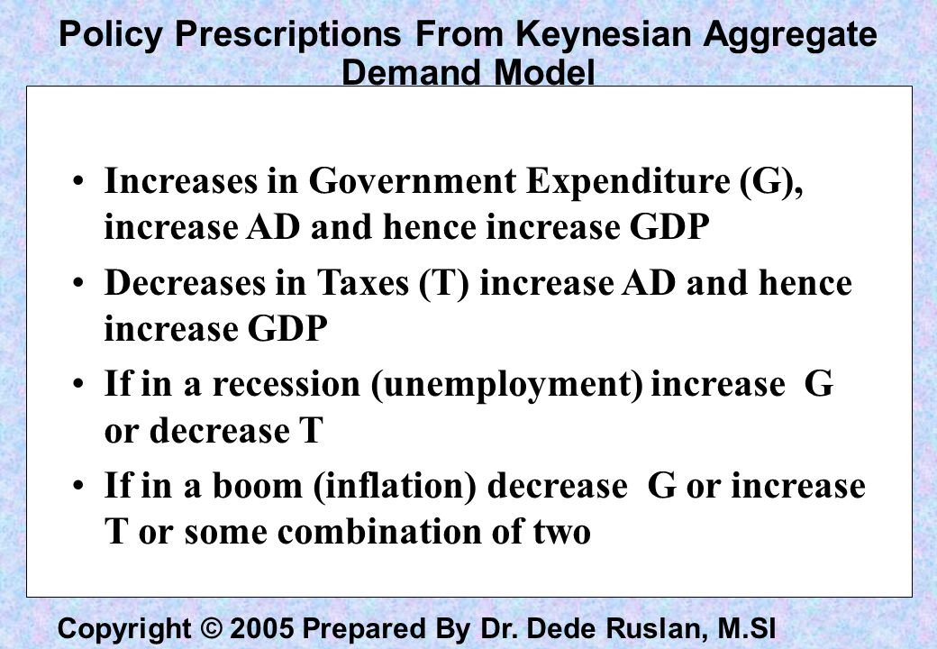 Policy Prescriptions From Keynesian Aggregate Demand Model