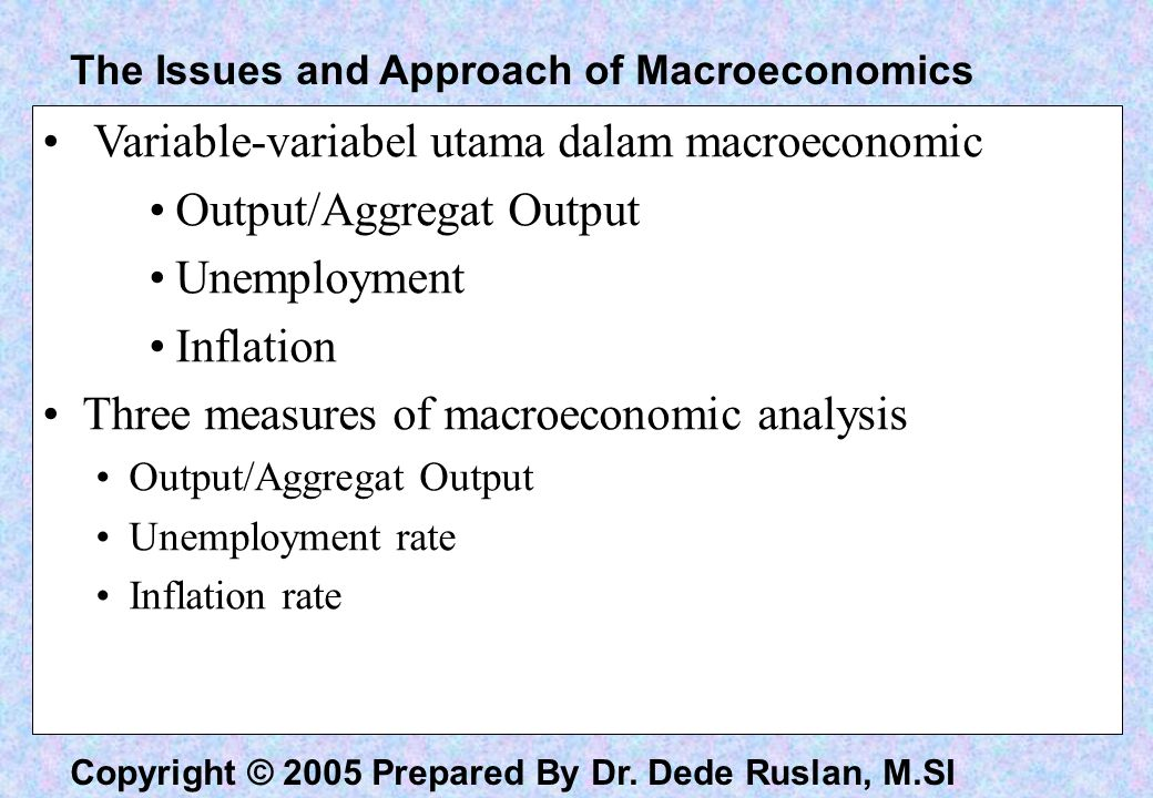 Variable-variabel utama dalam macroeconomic Output/Aggregat Output