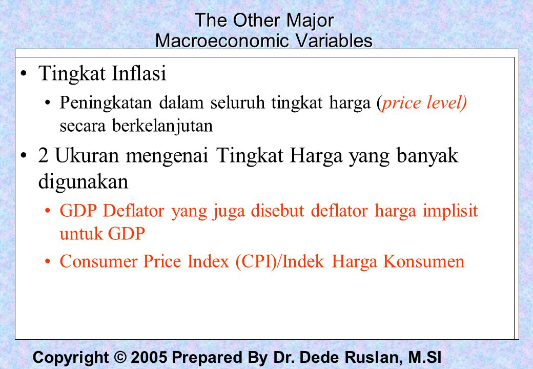 The Other Major Macroeconomic Variables