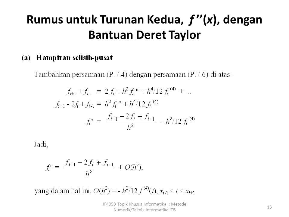 Rumus untuk Turunan Kedua, f ''(x), dengan Bantuan Deret Taylor