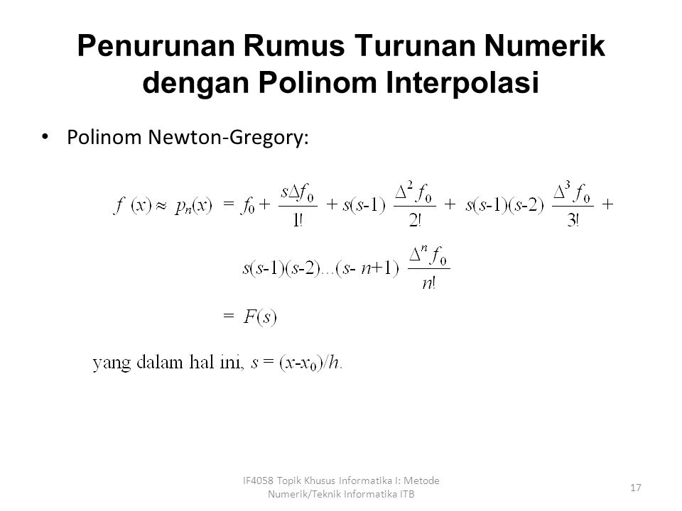 Penurunan Rumus Turunan Numerik dengan Polinom Interpolasi