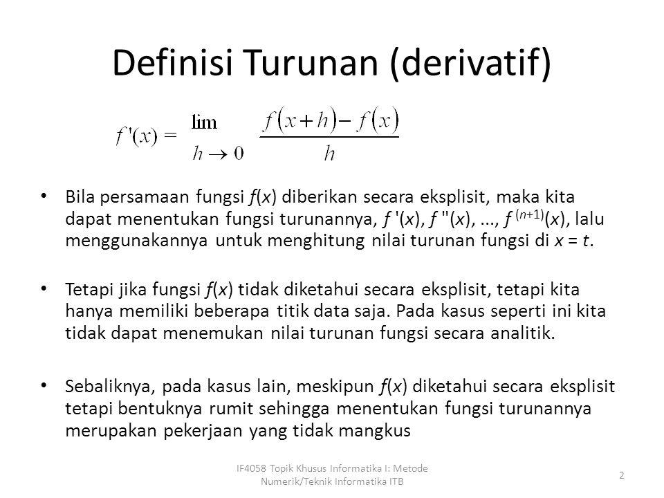 Definisi Turunan (derivatif)