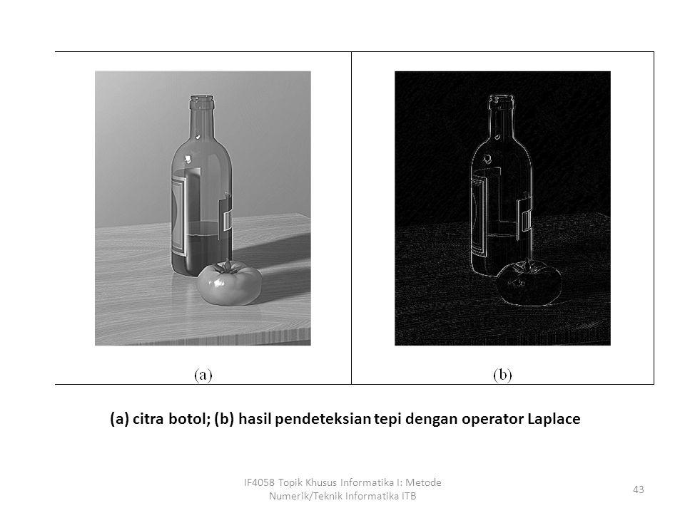 (a) citra botol; (b) hasil pendeteksian tepi dengan operator Laplace
