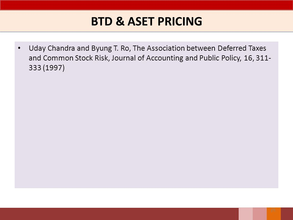 BTD & ASET PRICING