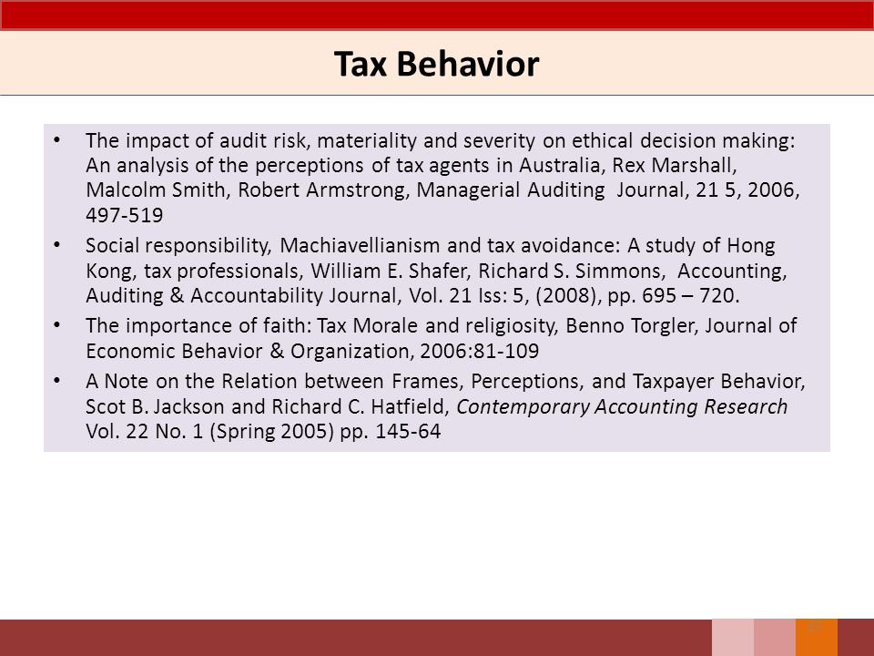 Tax Behavior
