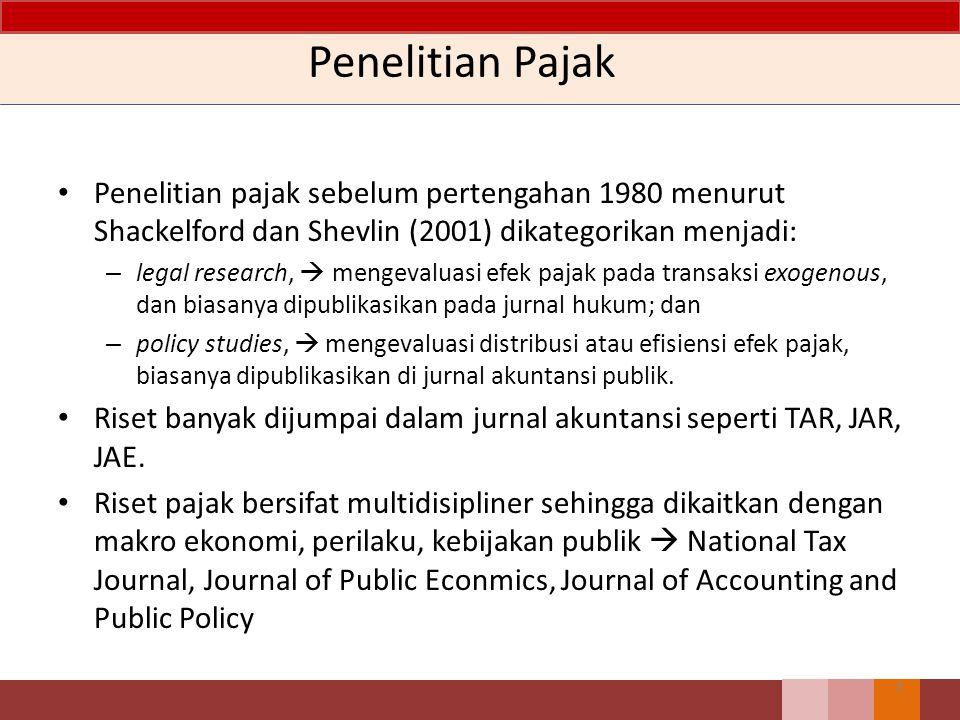 Penelitian Pajak Penelitian pajak sebelum pertengahan 1980 menurut Shackelford dan Shevlin (2001) dikategorikan menjadi: