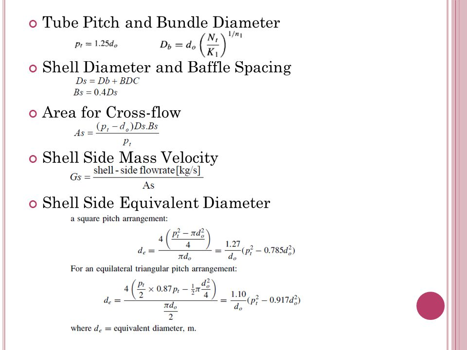 Tube Pitch and Bundle Diameter