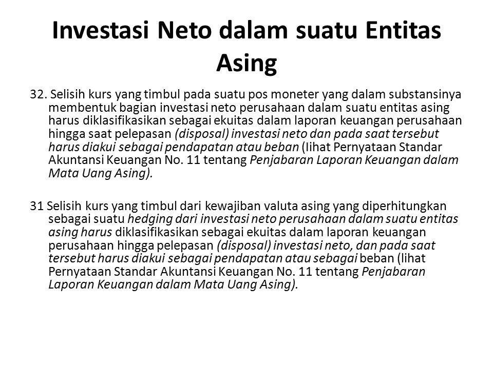 Investasi Neto dalam suatu Entitas Asing