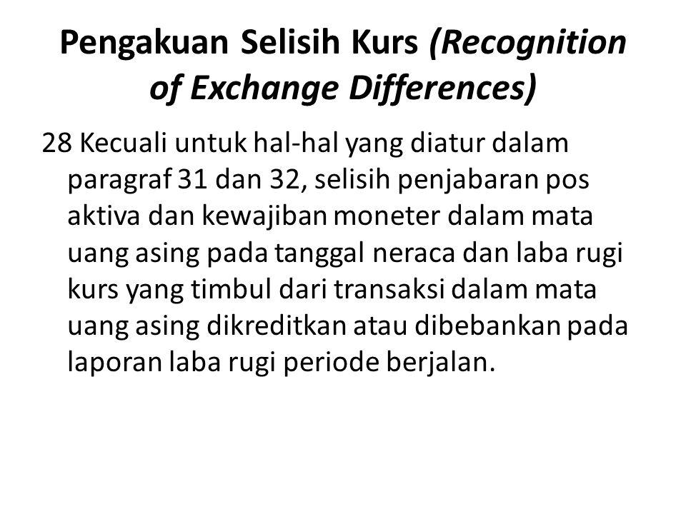 Pengakuan Selisih Kurs (Recognition of Exchange Differences)