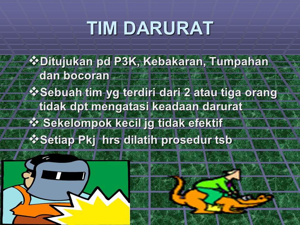 TIM DARURAT Ditujukan pd P3K, Kebakaran, Tumpahan dan bocoran