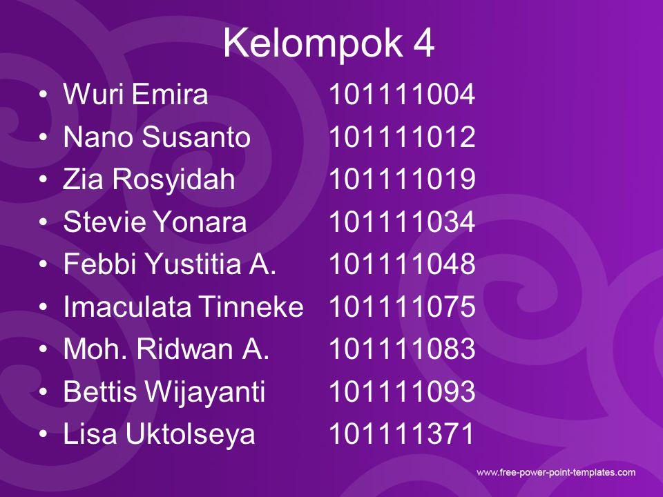 Kelompok 4 Wuri Emira 101111004 Nano Susanto 101111012