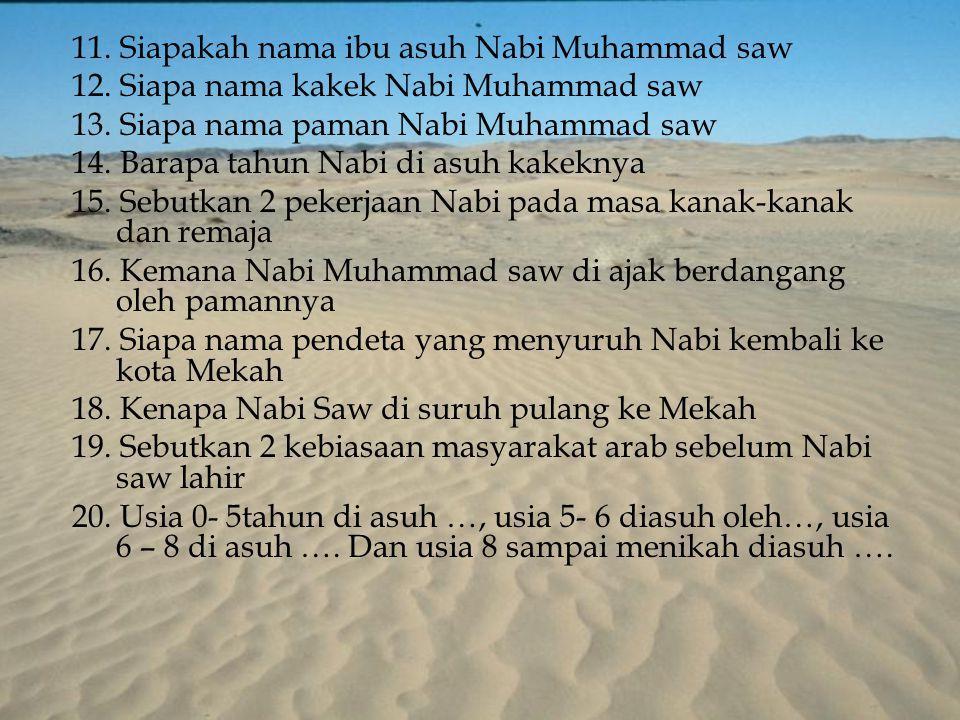 11. Siapakah nama ibu asuh Nabi Muhammad saw