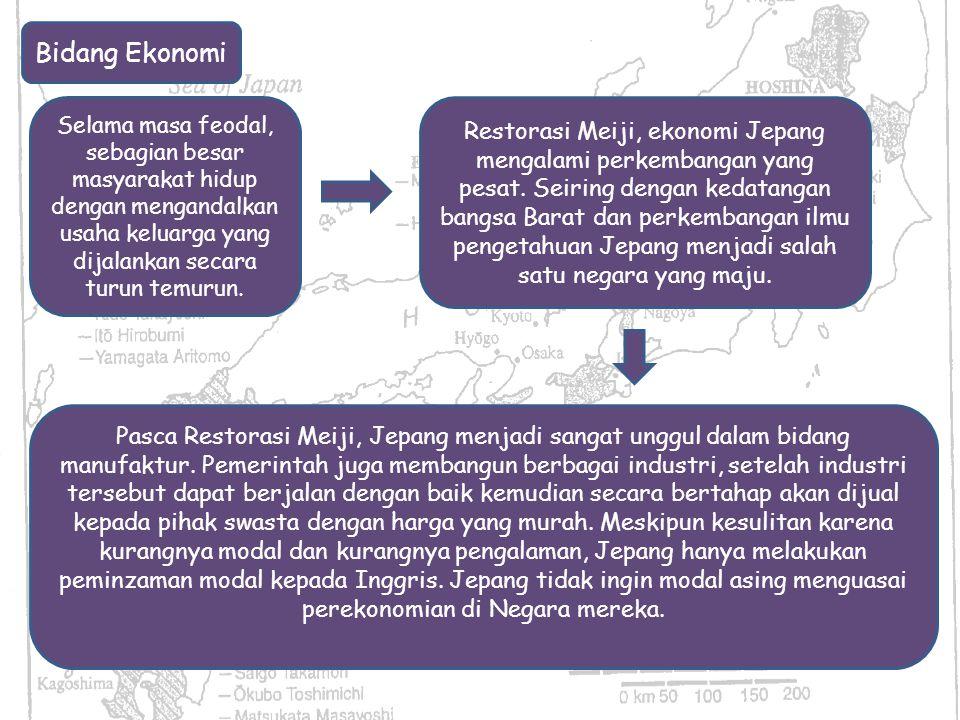 Bidang Ekonomi Selama masa feodal, sebagian besar masyarakat hidup dengan mengandalkan usaha keluarga yang dijalankan secara turun temurun.
