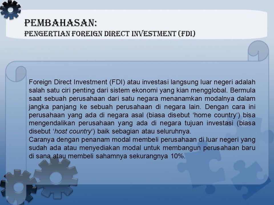 PEMBAHASAN: Pengertian Foreign Direct Investment (FDI)