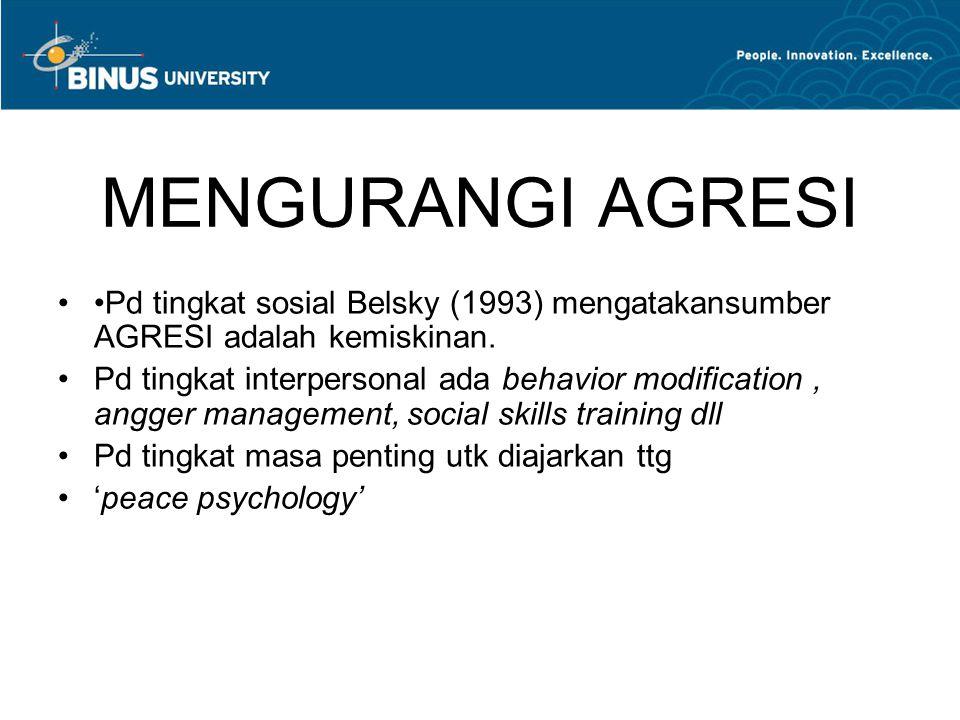 MENGURANGI AGRESI •Pd tingkat sosial Belsky (1993) mengatakansumber AGRESI adalah kemiskinan.