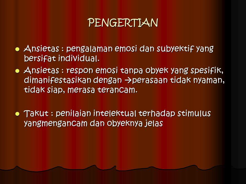 PENGERTIAN Ansietas : pengalaman emosi dan subyektif yang bersifat individual.