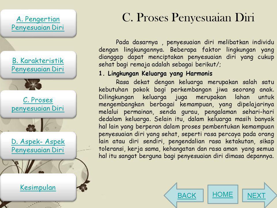 C. Proses Penyesuaian Diri