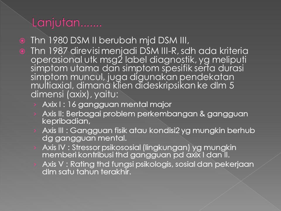 Lanjutan....... Thn 1980 DSM II berubah mjd DSM III,
