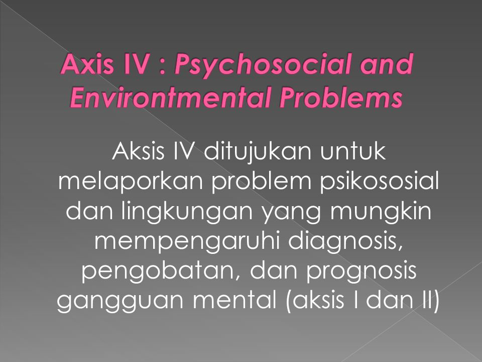 Axis IV : Psychosocial and Environtmental Problems