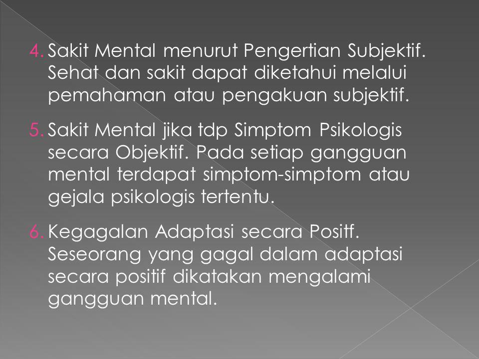 Sakit Mental menurut Pengertian Subjektif