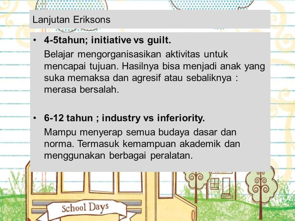 Lanjutan Eriksons 4-5tahun; initiative vs guilt.