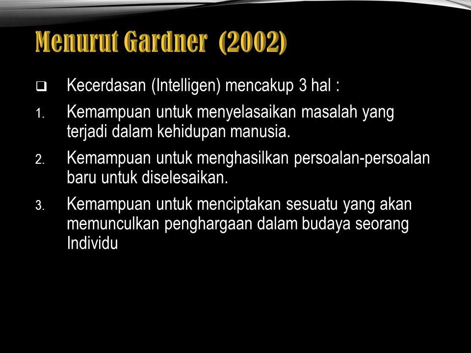 Menurut Gardner (2002) Kecerdasan (Intelligen) mencakup 3 hal :