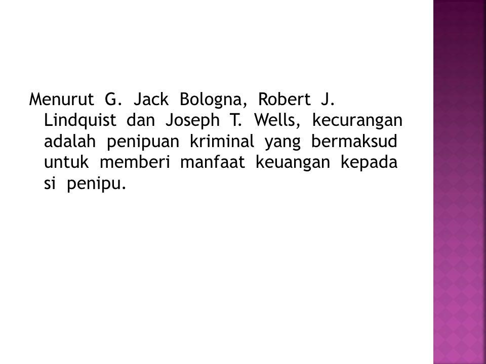 Menurut G. Jack Bologna, Robert J. Lindquist dan Joseph T