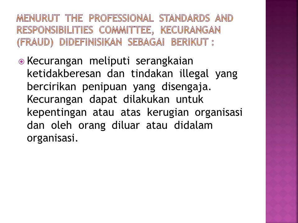 Menurut The Professional Standards and Responsibilities Committee, kecurangan (fraud) didefinisikan sebagai berikut :