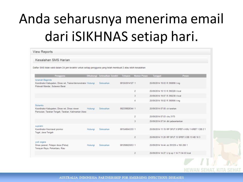 Anda seharusnya menerima email dari iSIKHNAS setiap hari.
